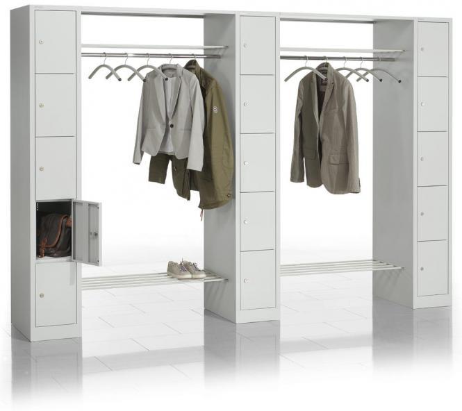Garderoben-Kombination mit 3 Schließfachsäulen