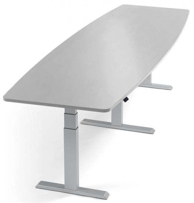 XXL Sitz-/ Stehbesprechungstisch, höhenverstellbar Lichtgrau | 2600