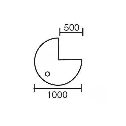 Anbauplatten 3/4 Kreis für Comfort-Tische BASE LINE