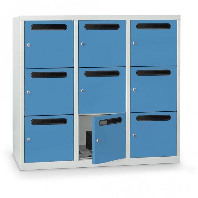 Postverteilerschrank zur Wandaufhängung, 9 Fächer Lichtblau RAL 5012   9