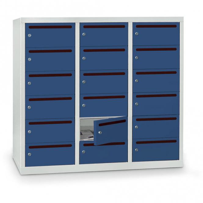 Postverteilerschrank zur Wandaufhängung, 18 Fächer Enzianblau RAL 5010 | 18