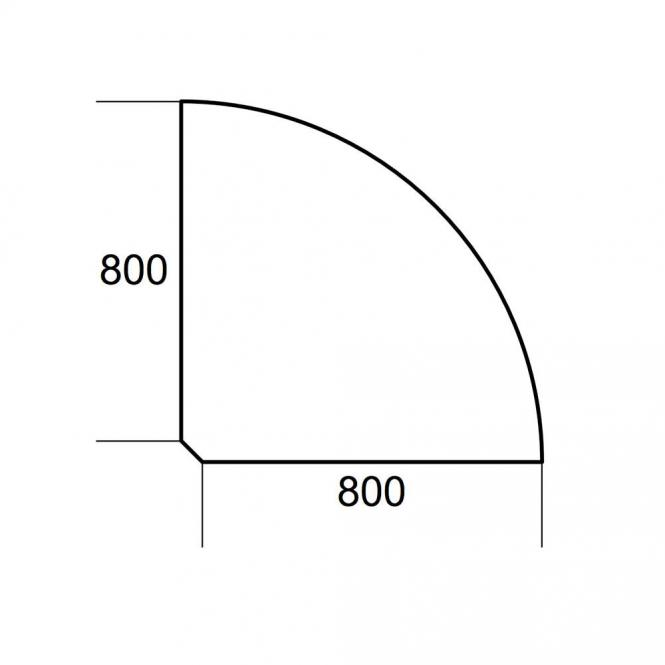 Verkettungsplatte 1/4-Kreis PROFI MODUL Weiß | 800 | 90° Winkel 1/4 Kreis
