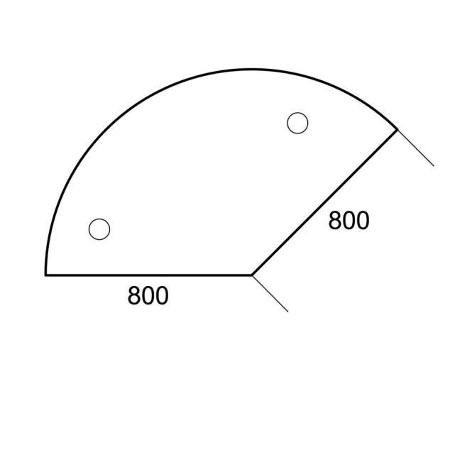Anbauplatte 135° PROFI MODUL Lichtgrau | Stützfuß rund | Anbauplatte 135° für Tischtiefe 800 mm