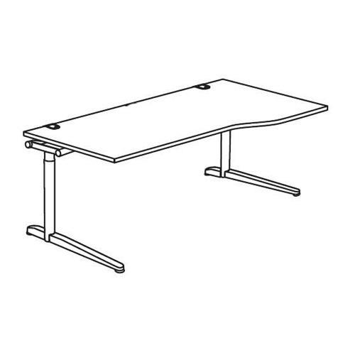 Schreibtisch Freiform T-Fuß PROFI MODUL Lichtgrau | 1600 | Freiform rechtsseitig