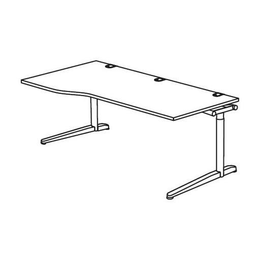 Schreibtisch Freiform T-Fuß PROFI MODUL Weiß | 1800 | Freiform linksseitig