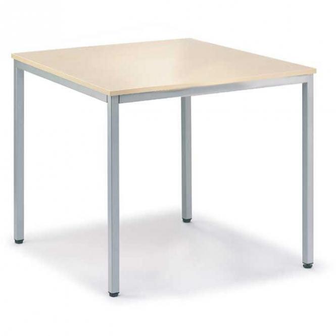Konferenztisch BASE-MODUL Ahorndekor | 800 | 800 | Alusilber RAL 9006 | Quadrat | 19