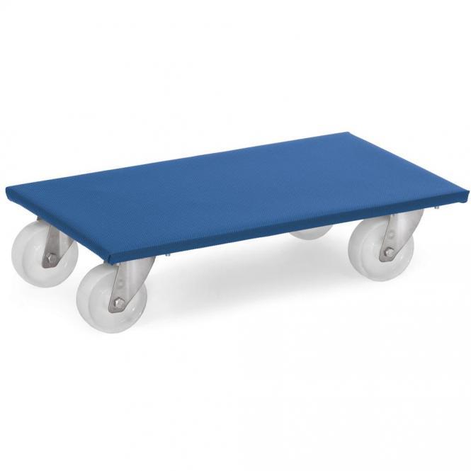 Möbelroller bis 500 kg, mit Rutschschutzbelag, Blau | 500 Kg Traglast | Polyamidrädern | Holz