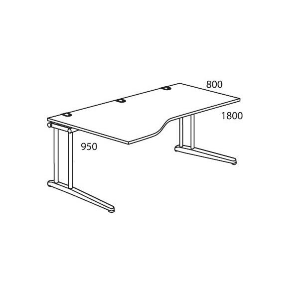 Schreibtisch Freiform C-Fuß PROFI MODUL Weiß   1800   Freiform linksseitig
