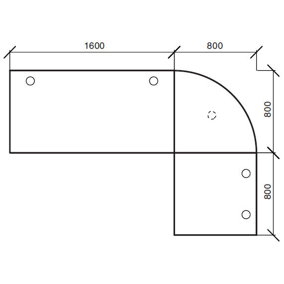 Winkelkombination Comfort 2.0 MULTI MODUL Buchedekor | 2400 | 1600 | Alusilber RAL 9006 | Winkelkombination rund