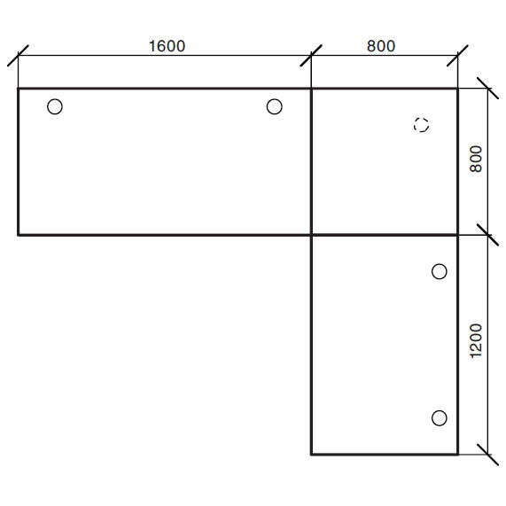 Winkelkombination Comfort 2.0 MULTI MODUL Buchedekor | 2400 | 2000 | Alusilber RAL 9006 | Winkelkombination eckig