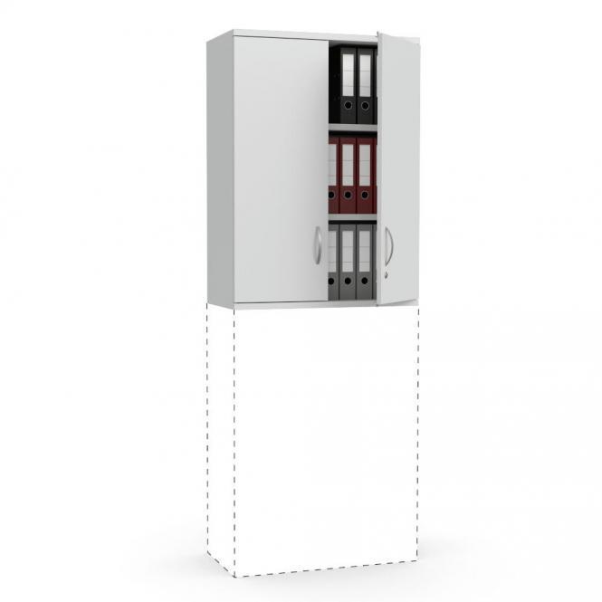 Flügeltüren-Aufsatzschrank PROFI MODUL Lichtgrau | 800 | Türanschlag Mitte | 1110 mm (3 OH)