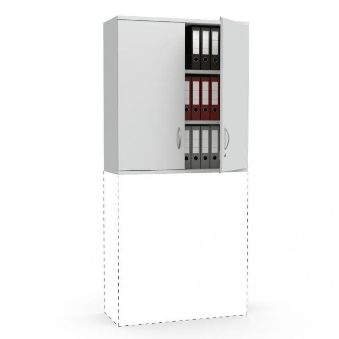 Flügeltüren-Aufsatzschrank PROFI MODUL Lichtgrau | 1000 | Türanschlag Mitte | 1110 mm (3 OH)