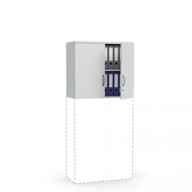 Flügeltüren-Aufsatzschrank MULTI MODUL Lichtgrau | 800 | 710 mm (2 OH)