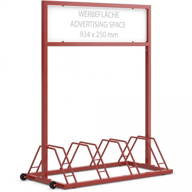 Werbe-Fahrradständer Feuerrot RAL 3000