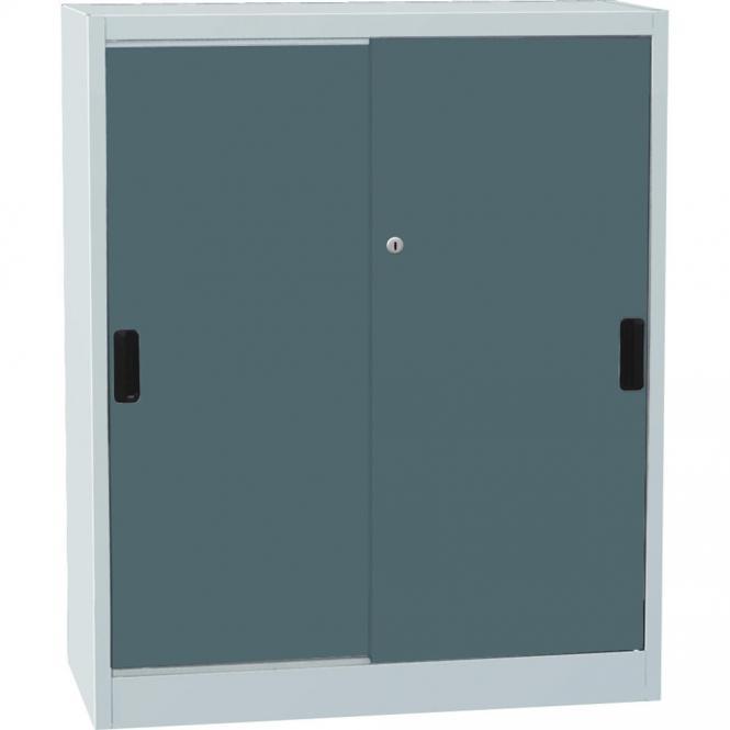 Werkstatt-Schiebetürenschrank DELTA Blaugrau RAL 7031   1150   950
