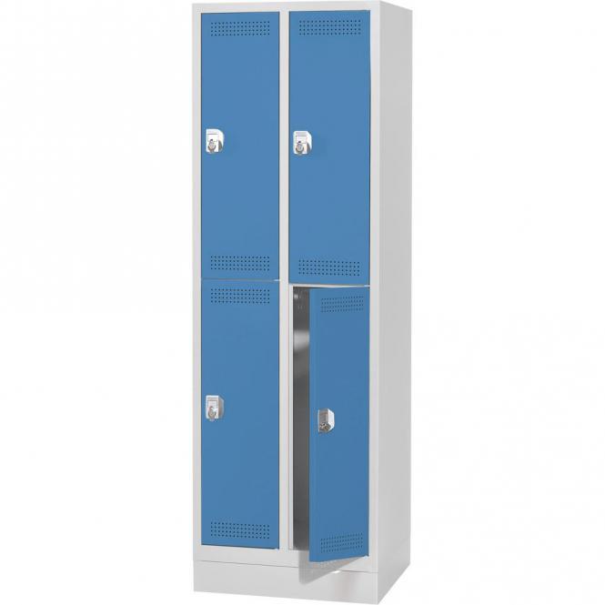 Doppelstöckiger Garderobenspind SP PROFI mit Sockel Lichtblau RAL 5012 | 4 | Drehriegelverschluss