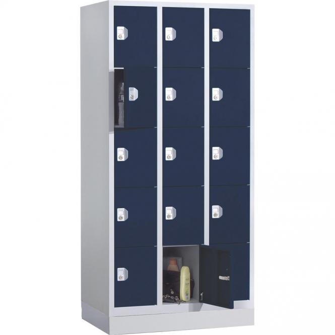 Schließfach-Stahlschrank SP PROFI SYSTEM mit Sockel Stahlblau RAL 5011 | 3 | Zylinderschloss | 15