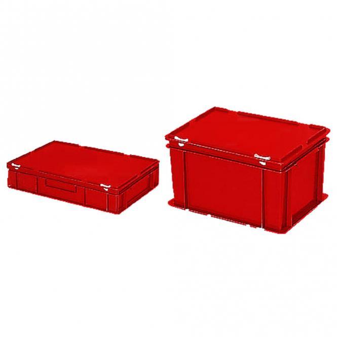 euronorm beh lter mit deckel rot b 400 x h 330 x l 600 mm 63 00 bequem online bestellen. Black Bedroom Furniture Sets. Home Design Ideas