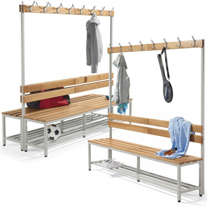 Sitz- und Garderobenbänke PROFI mit Holzleisten