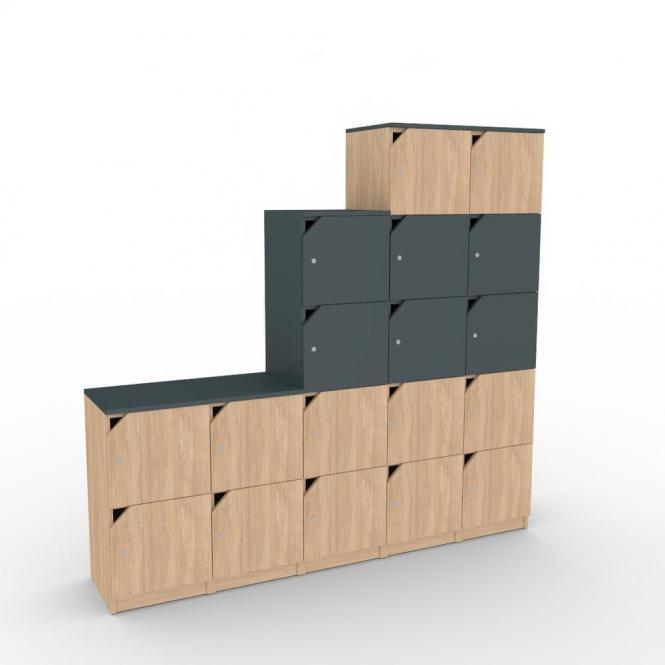 Schließfachschrank-System aus Holz