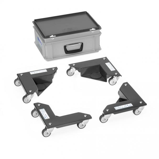 Eckenroller 150 kg, je 3 Lenkrollen Anthrazit | 1500 Kg Traglast | Polyamidrädern | Stahl