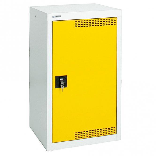 Umweltschrank mit Türlochung zur Belüftung P1 Signalgelb RAL 1003 | 900 | 500 | 2 Wannen | Drehriegelverschluss