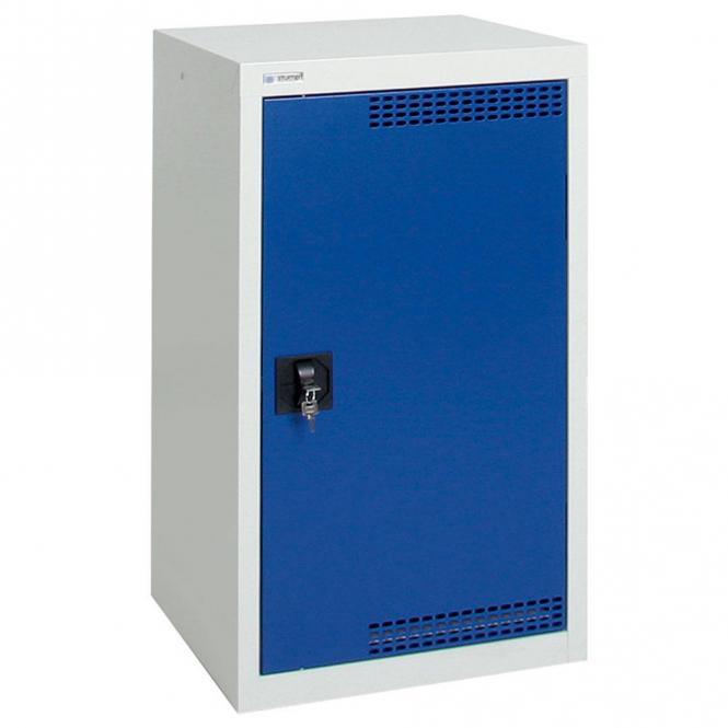 Umweltschrank mit Türlochung zur Belüftung P1 Enzianblau RAL 5010 | 900 | 500 | 2 Wannen | Drehriegelverschluss