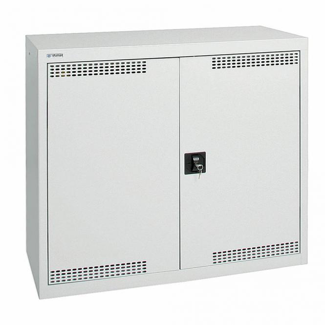 Umweltschrank mit Türlochung zur Belüftung P2 Lichtgrau RAL 7035 | 900 | 1000 | 2 Wannen | Drehriegelverschluss