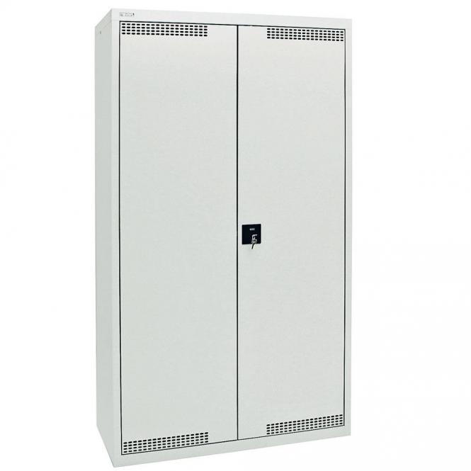 Umweltschrank mit Türlochung zur Belüftung P4 Lichtgrau RAL 7035 | 1800 | 1000 | 4 Wannen | Drehriegelverschluss