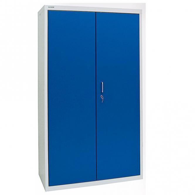 Umweltschrank mit geschlossenen Schranktüren B4 Enzianblau RAL 5010   1800   1000   4 Wannen   Bügelgriff