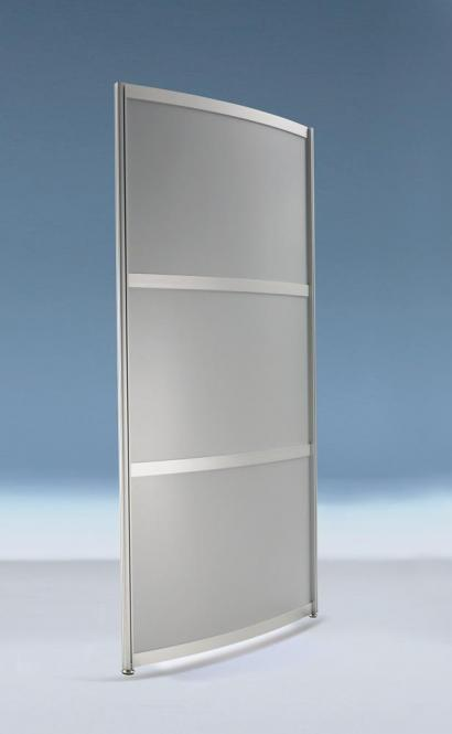 Hygieneschutzwand ALASKA.gebogen, 3-teilige Optik 1980 | 1000 | Stellwand, gebogen, 3-teilige Optik | MDF-Dekor silber