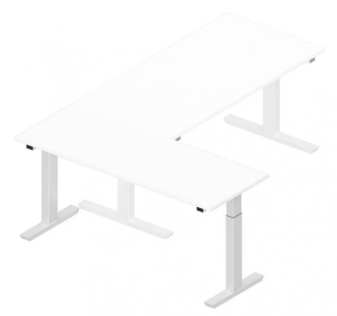 Anbautisch 1600 T-Fuß PROFI MODUL Weiß | Alusilber RAL 9006