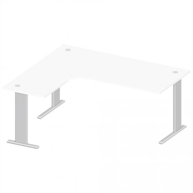 XXL Schreibtisch Jumboform Basic M MULTI MODUL Weiß | Alusilber RAL 9006 | Jumbo Freiform linksseitig