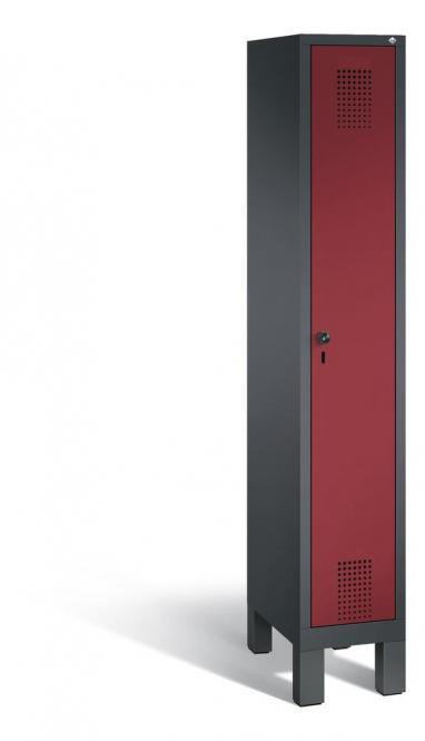 Garderoben-Stahlspind SERIE EVOLO mit Füßen Rubinrot RAL 3003   Anthrazit RAL 7021   300   1