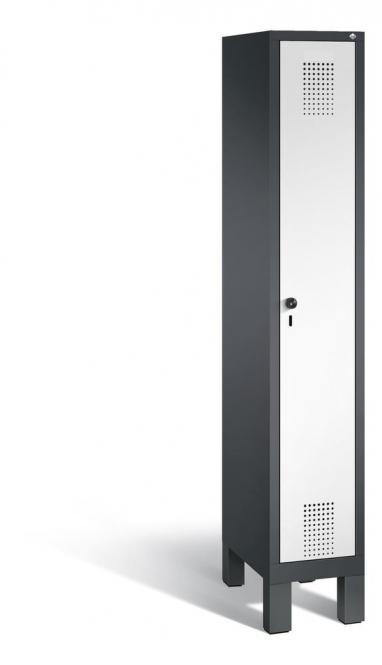 Garderoben-Stahlspind SERIE EVOLO mit Füßen Verkehrsweiß RAL 9016 | Anthrazit RAL 7021 | 300 | 1