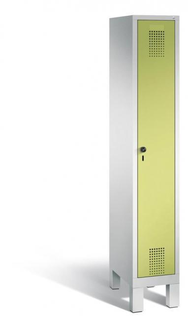 Garderoben-Stahlspind SERIE EVOLO mit Füßen Apfelgrün | Lichtgrau RAL 7035 | 300 | 1