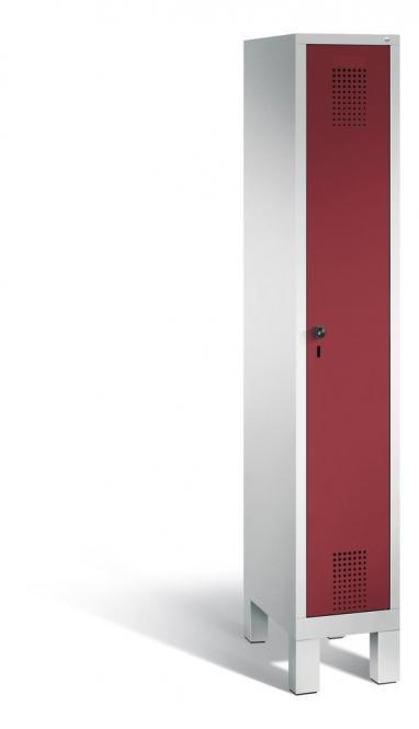 Garderoben-Stahlspind SERIE EVOLO mit Füßen Rubinrot RAL 3003 | 300 | 1 | Lichtgrau RAL 7035
