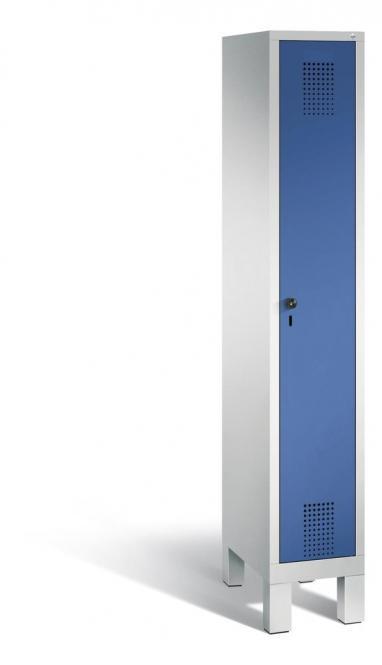 Garderoben-Stahlspind SERIE EVOLO mit Füßen Enzianblau RAL 5010 | 300 | 1 | Lichtgrau RAL 7035