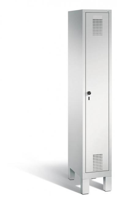 Garderoben-Stahlspind SERIE EVOLO mit Füßen Lichtgrau RAL 7035 | Lichtgrau RAL 7035 | 300 | 1