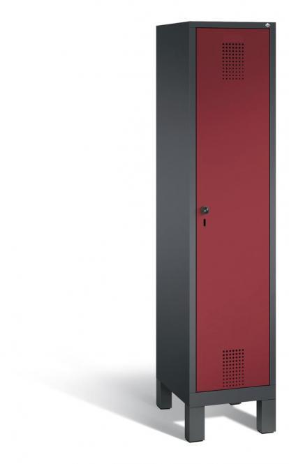 Garderoben-Stahlspind SERIE EVOLO mit Füßen Rubinrot RAL 3003   Anthrazit RAL 7021   400   1