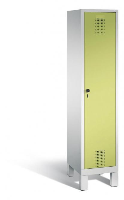 Garderoben-Stahlspind SERIE EVOLO mit Füßen Apfelgrün   Lichtgrau RAL 7035   400   1