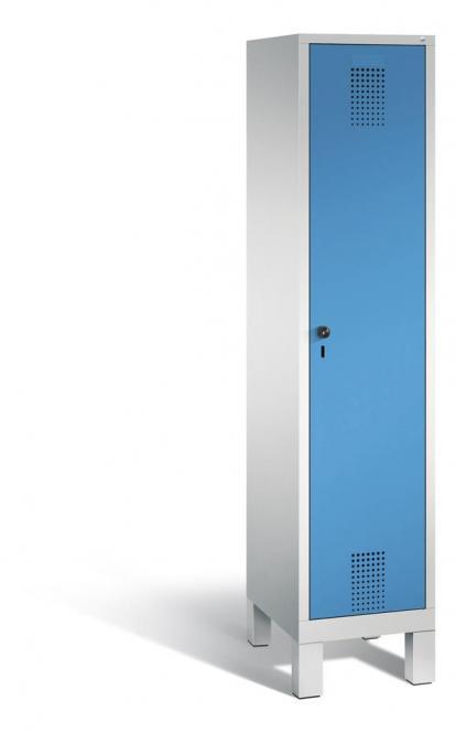 Garderoben-Stahlspind SERIE EVOLO mit Füßen Lichtblau RAL 5012   400   1   Lichtgrau RAL 7035