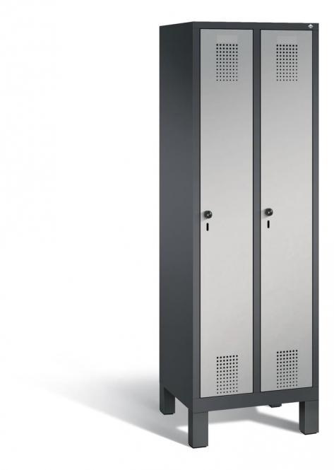 Garderoben-Stahlspind SERIE EVOLO mit Füßen Alusilber RAL 9006 | 300 | 2 | Anthrazit RAL 7021