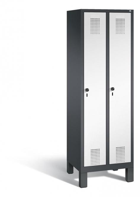 Garderoben-Stahlspind SERIE EVOLO mit Füßen Verkehrsweiß RAL 9016 | 300 | 2 | Anthrazit RAL 7021