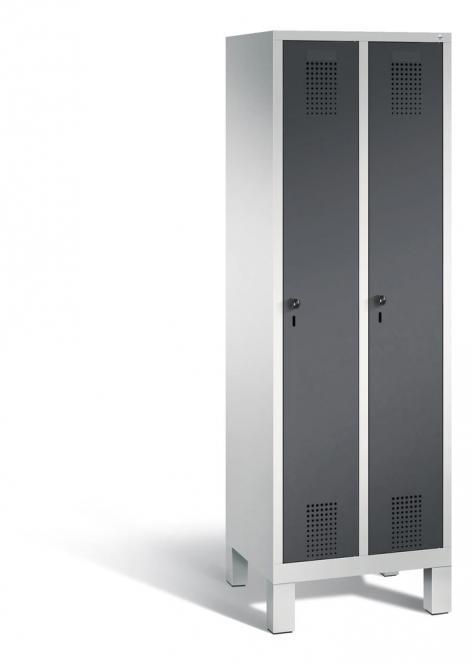 Garderoben-Stahlspind SERIE EVOLO mit Füßen Anthrazit RAL 7021 | Lichtgrau RAL 7035 | 300 | 2