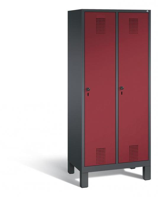 Garderoben-Stahlspind SERIE EVOLO mit Füßen Rubinrot RAL 3003 | 400 | 2 | Anthrazit RAL 7021