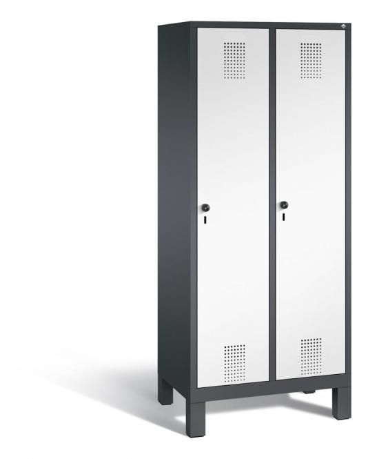 Garderoben-Stahlspind SERIE EVOLO mit Füßen Verkehrsweiß RAL 9016   400   2   Anthrazit RAL 7021