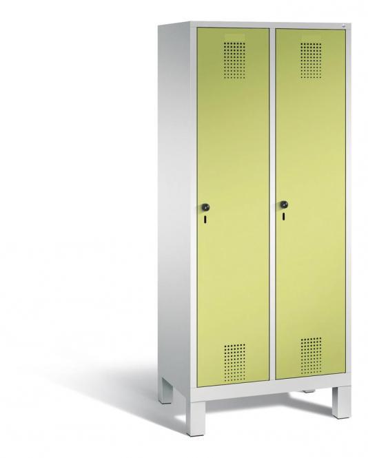 Garderoben-Stahlspind SERIE EVOLO mit Füßen Apfelgrün | 400 | 2 | Lichtgrau RAL 7035