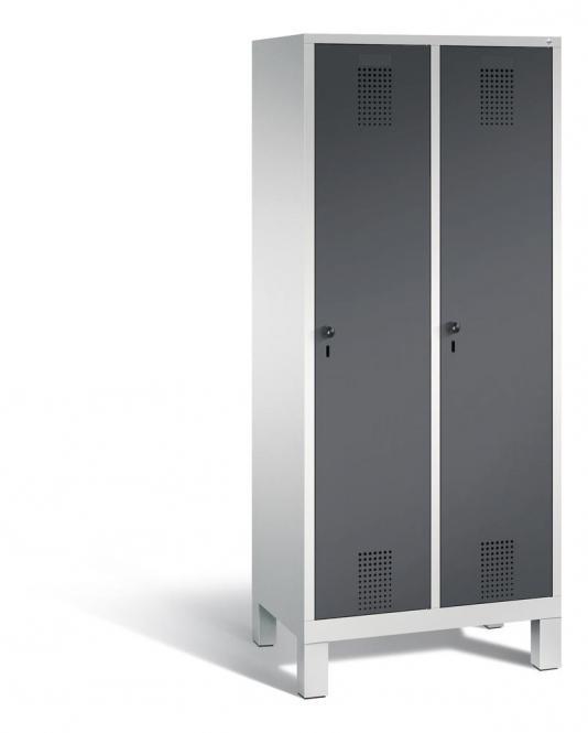 Garderoben-Stahlspind SERIE EVOLO mit Füßen Anthrazit RAL 7021 | Lichtgrau RAL 7035 | 400 | 2