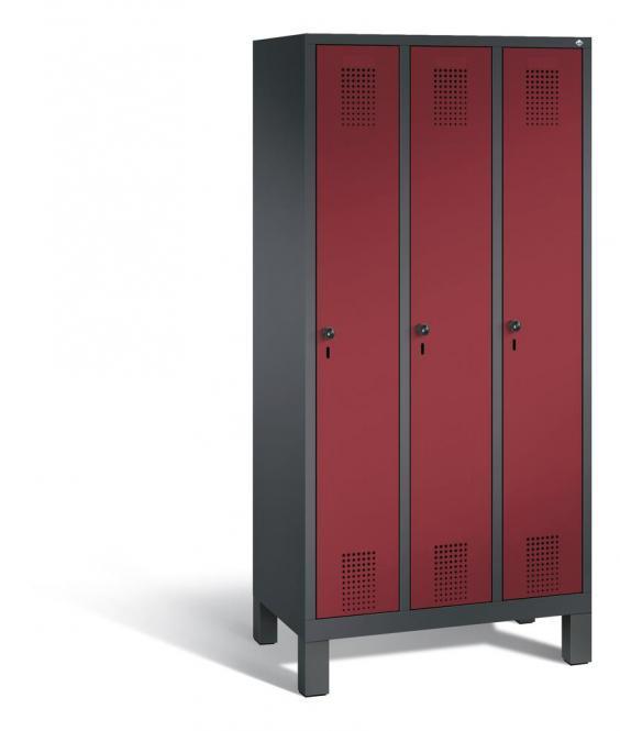 Garderoben-Stahlspind SERIE EVOLO mit Füßen Rubinrot RAL 3003 | Anthrazit RAL 7021 | 300 | 3
